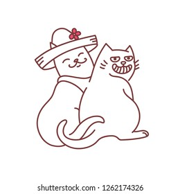 Cats couple romantic dating with wide grin and hat pets smiling funny doodle line art vector illustration isolated on white background