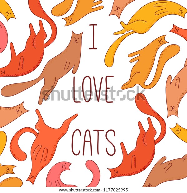 Cats Cute Pets Colorful Doodle Line Stock Vector Royalty Free 1177025995