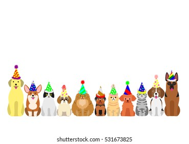 cats and dogs border set with colorful party hat