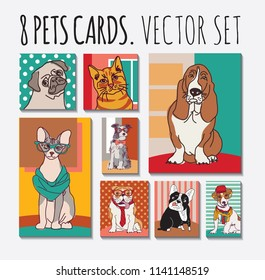 Cats and dogs cards pets set
