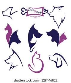 cats and dogs, my favorite pet, vector collection of animals symbols