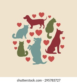 Cats and dogs vector silhouette vintage round composition