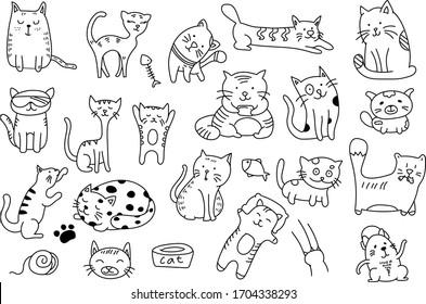 Cats Doodle Clip Art zum Scrapbooking