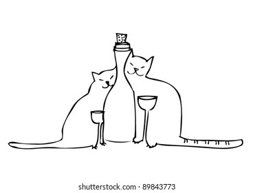Cats drink wine and smiling