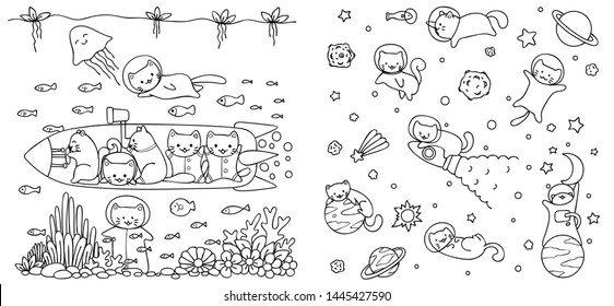 Cats enjoy diving and flying in space for design element, engraving, print on product or coloring book. Vector illustraton