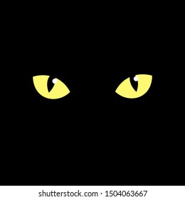 cat's eye of a black cat. eyes of a yellow cat in the dark. Vector illustration