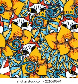 Cats in flowers. Vector seamless pattern.