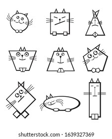 Cats in the form of geometric shapes. Circle, oval, square, rhombus, trapezoid.
