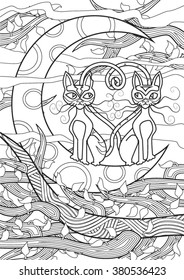 Cats. Hand drawn vector illustration.