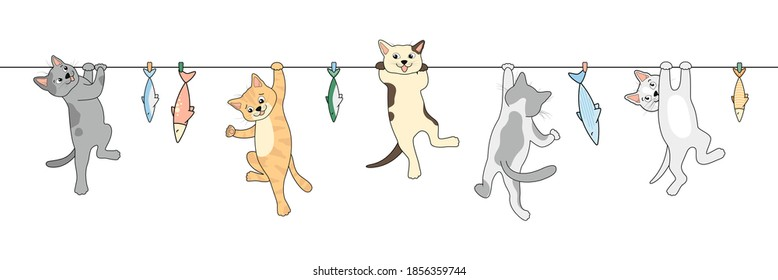 Cats are hanging on a rope. Fish on a string. Cute animal cats cartoon set.