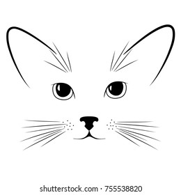 Cat's head. Pet. Vector illustration. Mustache. Ears. Face. Muzzle of an animal. Drawing.