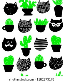 Cats and home plants vector pattern. Seamless pattern of pets and green flora.