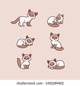 Cats icon set. Different type of cats. Vector illustration for prints, clothing, packaging, stickers, stickers.