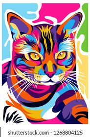 a cat's illustration image, creative with an elegant, cool and awesome design with bright colors, with a colorful background.