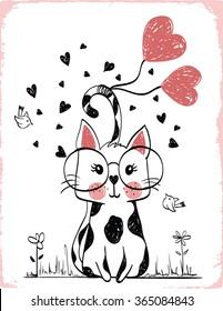 cats illustration , T-shirt graphics / textile graphic