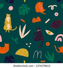 Cats and kittens abstract floral tropical collage seamless pattern in vector. Cute print for animal lover
