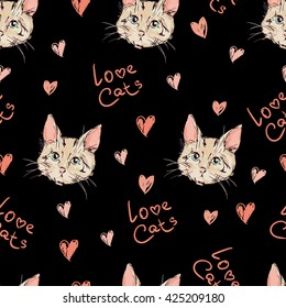 cats kittens cute sketch vector illustration seamless, texture background