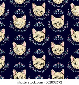 cats kittens cute sketch vector illustration seamless, texture background, cat seamless, Hand Drawn Vector Illustration of cat pattern.