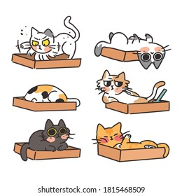 Cats Kittens and Their Litter Box Doodle Style Vector Illustration Sticker Collection. Best for Project, Digital Asset, Print.