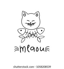 cat's logo with fish bones. Vector illustration