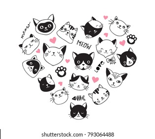 Cats Love, collection of vector icons, hand drawn illustrations arranged as heart