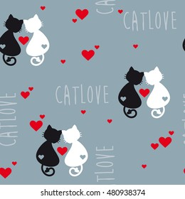 Cats in love seamless background