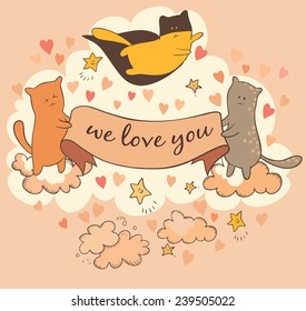 Cats love you, card
