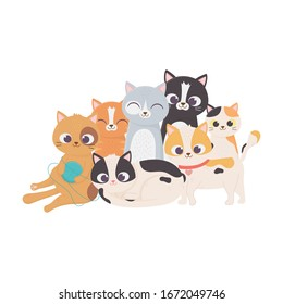 cats make me happy, cat with wool ball and others kittens mascot feline domestic vector illustration
