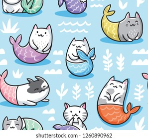 The cats mermaid under water. Seamless childish pattern for apparel, fabric, textile