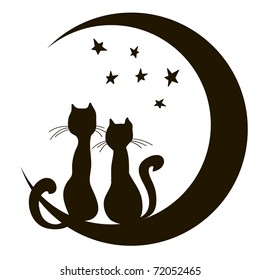 Cats on the moon. A loving couple. Dreams. A children's sketch