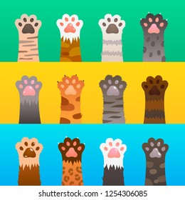 Cats paw flat. Cat paws claw hand, cartoon cute animal, fur funny wild hunter. Kitten friendship vector concept set