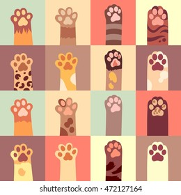 Cat's paw flat icon set in different color. Vector illustration