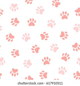 Cats Paw Print. Vector seamless pattern. Endless texture can be used for wallpaper,printing on fabric, paper, scrapbooking.