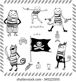 Cats pirates vector hand drawing illustration with fish frame, T-shirt boy and girl design, kids party design.