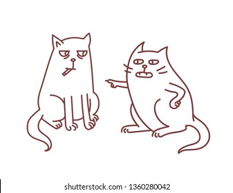 Cats representing health issues of smoking habit concept of parent educates and argues with teen child with cigarettes addiction and tobaco nicotine problems vector illustration.