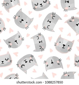 Cats seamless vector pattern with hearts. Cute hand drawn kitten faces. Valentines day.