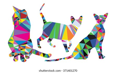 Cats set polygonal style from big animal set
