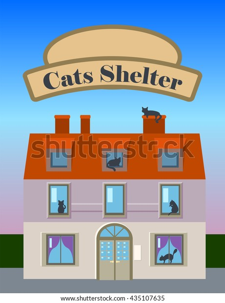 Awe Inspiring Cats Shelter House Vertical Vector Illustration Stock Vector Home Interior And Landscaping Synyenasavecom