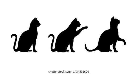 Cats silhouette set vector. Black cats vector isolated on white background