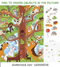 Cats are sitting on a tree. Find 10 hidden objects in the picture. Puzzle Hidden Items. Funny cartoon character
