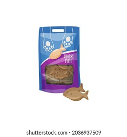 Cats snack or pets treat, fish biscuits, animals care and health food, vector. Cats and kitten feeding meal or taming and training snack treats in bag pack, flat isolated icon