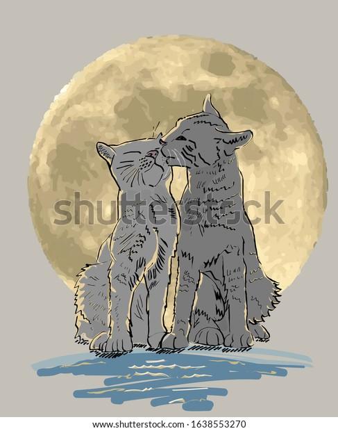 cats-under-moonlight-vector-600w-1638553