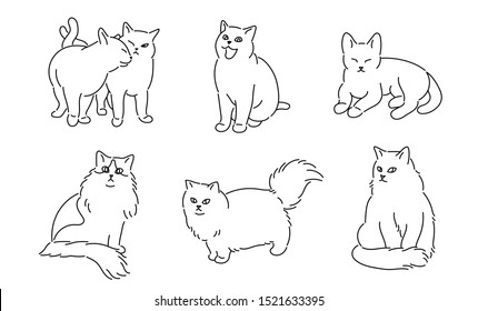 Cats in various poses. hand drawn style vector design illustrations.