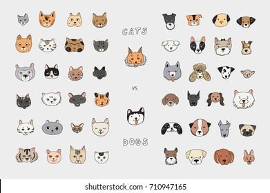 Cats vs dogs faces cartoon doodle vector color illustrations set.