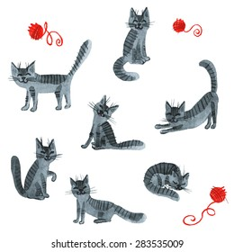The Cats. Watercolor art hand paint on white background. Vector art elements.
