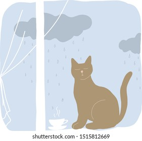 Cats in window at home. Cats are sit on windowsill. Outside the sky, clouds, rain. Colorful vector illustration in flat style.