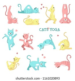 Cats yoga icon set. Cute color cats doing yoga poses. Vector illustration isolated on white background.