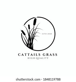 cattail grass logo vector illustration design, circle emblem , elegant decoration logo , monoline design