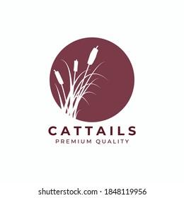 cattail grass logo vector illustration design, red vintage