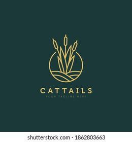 cattails plant above the water minimalist flat design logo illustration design template